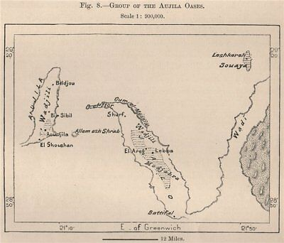 Group of The Aujila Oases. Libya 1885 old antique vintage map plan chart