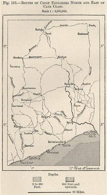 Explorers' routes north & east of Cape Coast. Ghana. Upper Guinea 1885 old map
