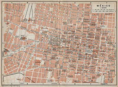 MEXICO CITY. MÉXICO antique town ciudad plan mapa. BAEDEKER 1909 old