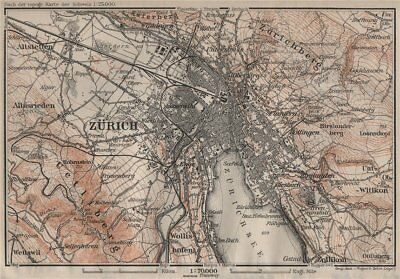 ZÜRICH ENVIRONS. Zurich. Switzerland Suisse Schweiz carte karte 1905 old map