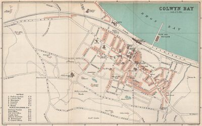 COLWYN BAY town/city plan. Wales. BARTHOLOMEW 1902 old antique map chart