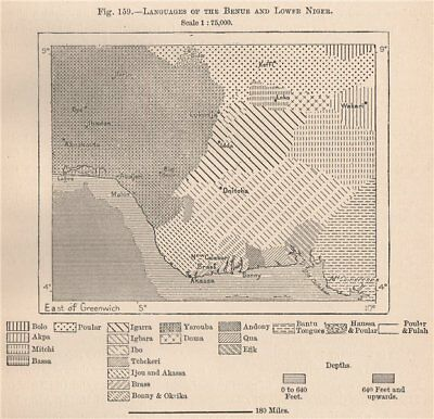 Languages of the Benue and lower Niger. Nigeria. The Niger Basin 1885 old map