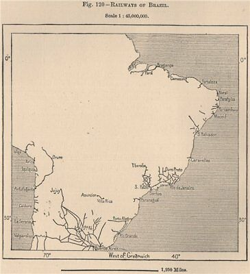 Railways of Brazil 1885 old antique vintage map plan chart