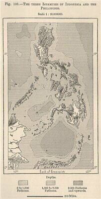 The Three Isthmuses of Indonesia and the Philippines 1885 old antique map