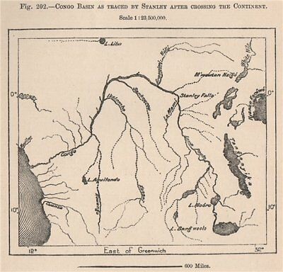 Congo Basin as traced by Stanley after crossing the continent 1885 old map
