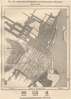 Approximate distribution of Nationalities in Montreal. Canada 1885 old map