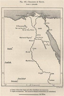 Religions of Egypt 1885 old antique vintage map plan chart