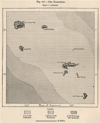 The Marquesas. French Polynesia 1885 old antique vintage map plan chart
