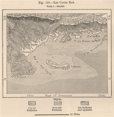 Les Cayes Bay. Haiti. Hispaniola 1885 old antique vintage map plan chart