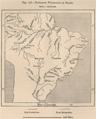 Navigable waterways of Brazil 1885 old antique vintage map plan chart