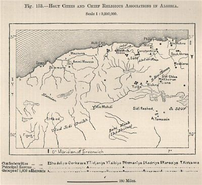 Holy cities and chief religious associations in Algeria 1885 old antique map