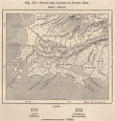 South-West corner of Puerto Rico 1885 old antique vintage map plan chart
