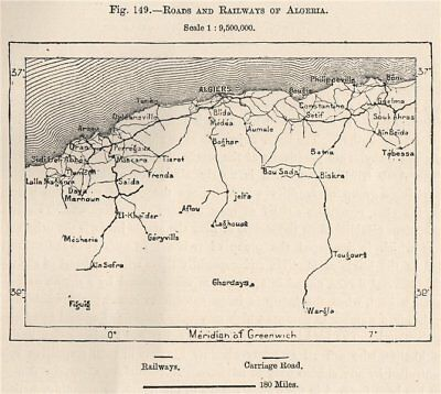 Roads and Railways of Algeria 1885 old antique vintage map plan chart