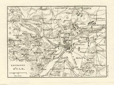 Battle of ??Ulm 1805. War of the Third Coalition. Baden-Württemberg 1819 map