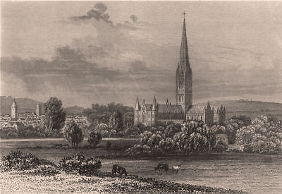 Salisbury Cathedral, Wiltshire. DUGDALE 1845 old antique vintage print picture