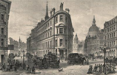 Queen Victoria Street, London c1880 old antique vintage print picture