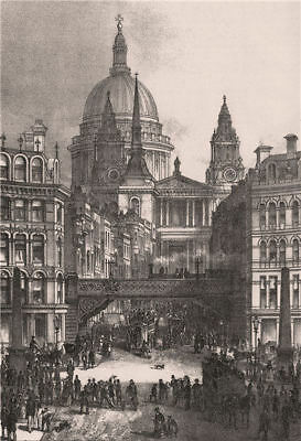 St. Paul's from Ludgate Circus, London c1880 old antique vintage print picture