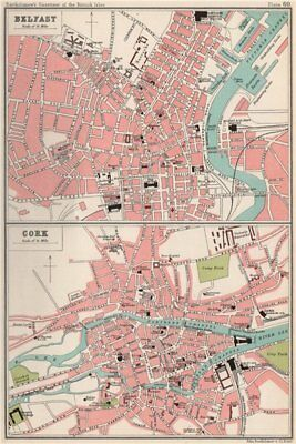 BELFAST & CORK antique town/city plans. BARTHOLOMEW 1904 old map chart