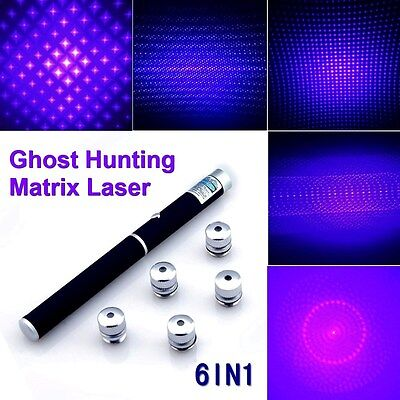 6 in 1 Purple Powerful Matrix Laser Pointer Pen 1mW Ghost Hunt Paranormal Tool