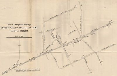 Loddon Valley Goldfields Mine, Moolort. Victoria, Australia. Mining 1909 map