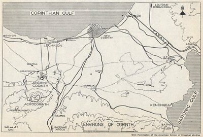 Environs of CORINTH. Canal. New/Ancient Corinth. Greece 1967 old vintage map