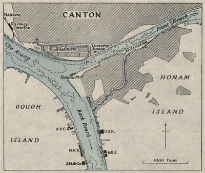 Canton harbour. GUANGZHOU. China. WW2 ROYAL NAVY INTELLIGENCE MAP 1945 old