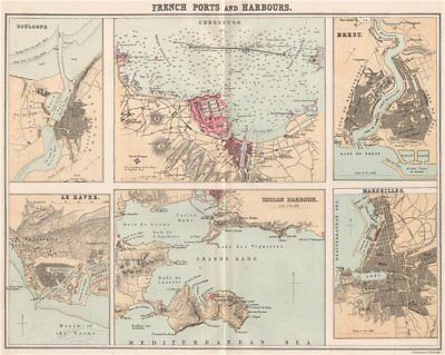 FRENCH PORTS. Boulogne Cherbourg Brest Le Havre Toulon Marseilles 1886 old map