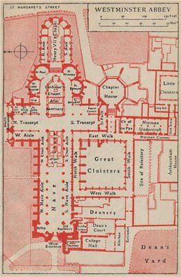 WESTMINSTER ABBEY. Vintage ground plan. London 1951 old vintage map chart