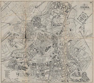 VIENNA WIEN. Antique town plan. City map. Austria. BRADSHAW 1895 old