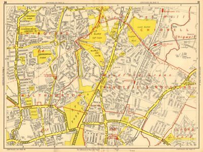 WOODFORD GREEN CHINGFORD Buckhurst Hill Walthamstow. GEOGRAPHERS' A-Z 1948 map