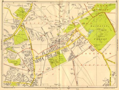 ILFORD CHIGWELL Grange Hill Woodford Green Hainault. GEOGRAPHERS' A-Z 1956 map