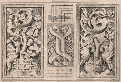 Carved oak panels. 16th Centy. work, from the South Kensington Museum 1869