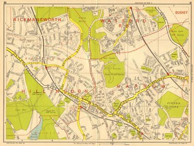 NORTHWOOD PINNER Watford Hatch End Carpenders Park. GEOGRAPHERS' A-Z 1964 map