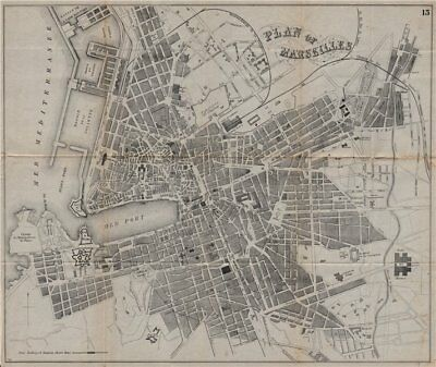 MARSEILLES. Antique town plan. City map. France. BRADSHAW 1895 old
