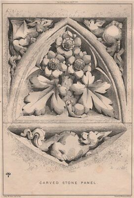 Carved Stone Panel. Decorative 1868 old antique vintage print picture