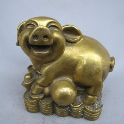 Chinese Bronze Handwork Carved Statue yuanbao pig NR