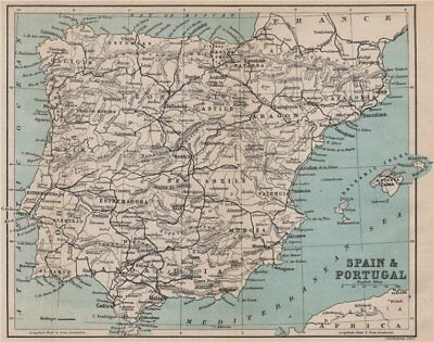SPAIN & PORTUGAL. Iberia railways 1885 old antique vintage map plan chart
