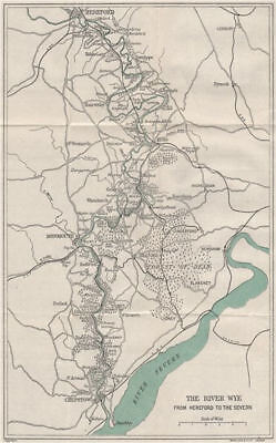 RIVER WYE VALLEY. Hereford-Ross-Monmouth-Chepstow-Severn. WARD LOCK 1922 map