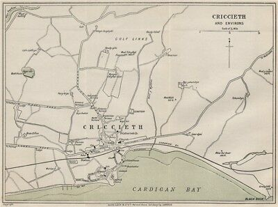 CRICCIETH AND ENVIRONS vintage town/city plan. Wales. WARD LOCK 1913 old map