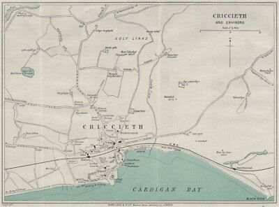 CRICCIETH AND ENVIRONS vintage town/city plan. Wales. WARD LOCK 1935 old map