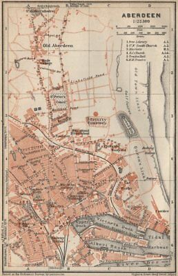 ABERDEEN antique town city plan. Docks. Scotland. BAEDEKER 1927 old map