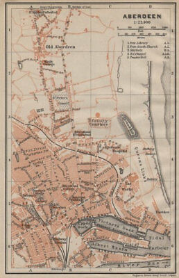 ABERDEEN antique town city plan. Docks. Scotland. BAEDEKER 1906 old map