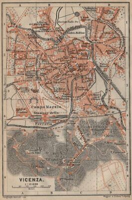 VICENZA antique town city plan piano urbanistico. Italy mappa 1906 old