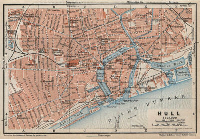 KINGSTON-UPON-HULL antique town city centre plan. Yorkshire. BAEDEKER 1927 map