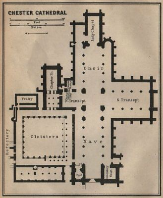 CHESTER CATHEDRAL floor plan. Cheshire. BAEDEKER 1906 old antique map chart