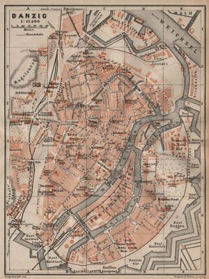 GDANSK antique town city plan miasta. Gda?sk Danzig. Poland mapa 1904 old