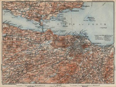 EDINBURGH ENVIRONS. Firth of Forth. Fife Leith Dunfermline. Scotland 1927 map
