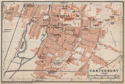 CANTERBURY antique town city plan. Kent. BAEDEKER 1927 old map chart
