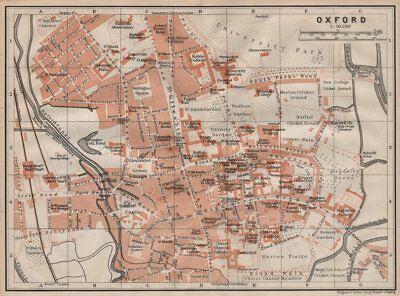 OXFORD antique town city plan. Colleges. Oxfordshire. BAEDEKER 1906 old map