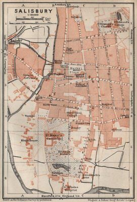 SALISBURY town city plan. St Mary's Cathedral. St Edmunds. Wiltshire 1927 map
